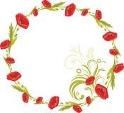 Guirlande avec les pavots rouges Photo stock
