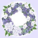 Guirlande avec les pivoines et le lilas blancs Image stock
