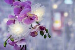Guirlande avec une branche des orchidées D?cor ? la maison Fleur artificielle d'orchid?e images libres de droits
