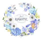 Guirlande bleue de fleur Photographie stock libre de droits