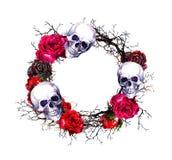 Guirlande - crânes, roses rouges, branches Frontière de grunge de Halloween d'aquarelle Photo stock