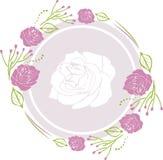 Guirlande décorative avec les roses pourpres pour le design de carte de salutation Photo libre de droits