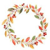 Guirlande décorative d'aquarelle de feuilles d'automne illustration libre de droits