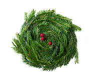 Guirlande décorative de Noël avec les baies rouges Photo stock
