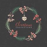 Guirlande décorative de salutation avec le jouet d'arbre de Noël illustration libre de droits