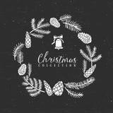 Guirlande décorative de salutation de craie avec la cloche Ramassage de Noël illustration de vecteur