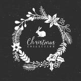 Guirlande décorative de salutation de Noël de craie avec le lapin illustration libre de droits