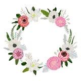 Guirlande décorative de vacances avec des fleurs, des feuilles et des branches Éléments floraux de vintage Image stock