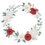Guirlande décorative de vacances avec des fleurs, des feuilles et des branches Éléments floraux de vintage Photo libre de droits