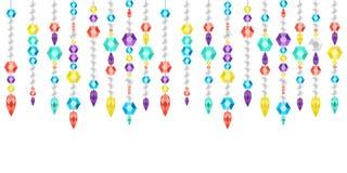Guirlande décorative des gemmes, des cristaux et des deamonds, gemmes sur une ficelle Illustration Stock