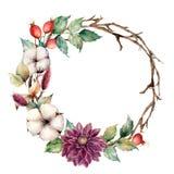 Guirlande d'aquarelle avec des plantes et des fleurs d'automne Frontière peinte à la main d'arbre avec du coton, dahlia, baies de illustration stock