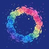 Guirlande d'arc-en-ciel d'éclaboussure sur le fond bleu, abstracti rond lumineux illustration stock