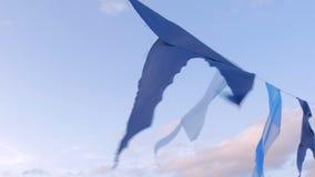 Guirlande d?corative des drapeaux de satin ondulant dans le vent clips vidéos