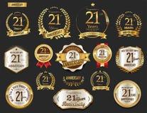 Guirlande d'or de laurier d'anniversaire illustration de vecteur