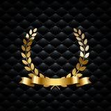 Guirlande d'or de laurier avec le ruban d'or sur le fond de luxe noir Élément de luxe de conception de vecteur illustration de vecteur