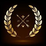 Guirlande d'or de laurier avec les flèches, le lis et la couronne illustration de vecteur