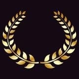 Guirlande d'or de laurier, d'isolement sur le fond noir Symbole de victoire, triomphe Élément de vecteur pour votre conception illustration de vecteur