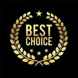 Guirlande d'or de laurier La meilleure récompense bien choisie Label d'or Trophée pour le défi Illustration de vecteur d'affaires illustration stock