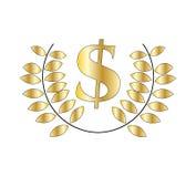 Guirlande d'or de symbole dollar et de laurier illustration de vecteur