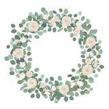 Guirlande d'eucalyptus de dollar en argent de fleur de Rose blanche et, guirlande ronde La salutation, mariage invitent le calibr illustration libre de droits