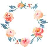 Guirlande de Bohème de fleur avec des roses Composition décorative pour la BO Image libre de droits