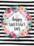Guirlande de Callygraphic de jour du ` s de Valentine - tirée par la main Photo libre de droits