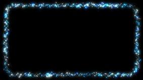Guirlande de clignotement de point de cadre de lumière de Noël - bleu banque de vidéos