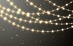 Guirlande de couleur de Noël, décorations de fête Décoration transparente rougeoyante d'effet de lumières de Noël sur le fond fon illustration stock