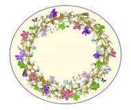 Guirlande de félicitations de ressort avec des brindilles et des violettes de saule Illustration de vecteur Photos libres de droits