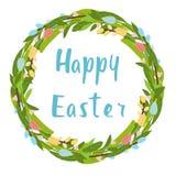 Guirlande de fleur de Pâques avec des tulipes et calligrapy heureux illustration de vecteur
