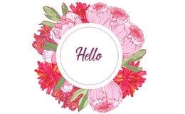 guirlande de fleurs Cadre rond avec les asters blancs et roses, pivoines, fond de cru, illustration numérique d'aspiration, calib illustration libre de droits