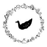 Guirlande de griffonnage : éléments de végétal et animal autour du canard Photographie stock