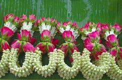 guirlande de jasmin avec la rose de rose images stock