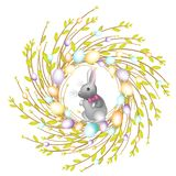 Guirlande de jeunes branches de saule E Est à l'intérieur un lapin Symbole de ressort illustration libre de droits
