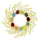Guirlande de jeunes branches de saule E Le symbole du ressort et de la P?ques illustration stock