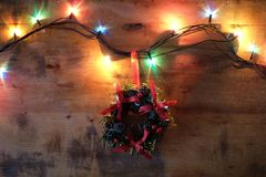 Guirlande de Joyeux Noël et de bonne année, de Noël et lumières Photographie stock
