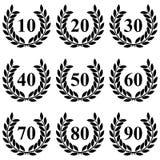 Guirlande de laurier de 10 à 90 sur un fond blanc illustration de vecteur