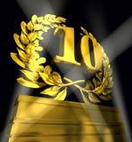 Guirlande de laurier avec le numéro 10 illustration stock