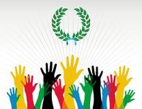 Guirlande de laurier de couleurs de mains de Jeux Olympiques illustration de vecteur