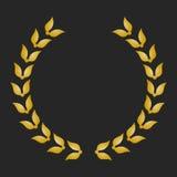 Guirlande de laurier de récompense d'or sur le fond foncé Image libre de droits