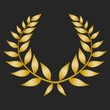 Guirlande de laurier de récompense d'or sur le fond foncé Photographie stock