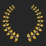 Guirlande de laurier de récompense d'or sur le fond foncé Photos stock