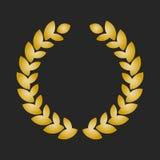 Guirlande de laurier de récompense d'or sur le fond foncé Photos libres de droits