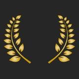 Guirlande de laurier de récompense d'or sur le fond foncé Images libres de droits