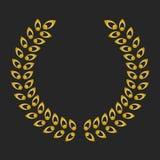 Guirlande de laurier de récompense d'or sur le fond foncé Photo stock