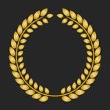 Guirlande de laurier de récompense d'or sur le fond foncé Images stock