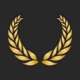 Guirlande de laurier de récompense d'or sur le fond foncé illustration de vecteur