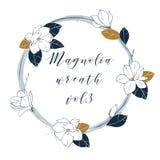 Guirlande de magnolia de vecteur dans des couleurs bleues et en bronze profondes Remettez l'illustartion d'aspiration avec des fl Image stock
