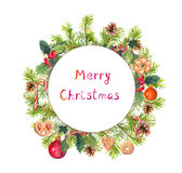Guirlande de Noël - arbre de sapin, gui, biscuits Trame ronde d'aquarelle Images stock