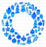 Guirlande de Noël avec des éléments de Noël, des boules, Noël de décoration le Joyeux et des vacances gaies de houx de bonne anné Images libres de droits
